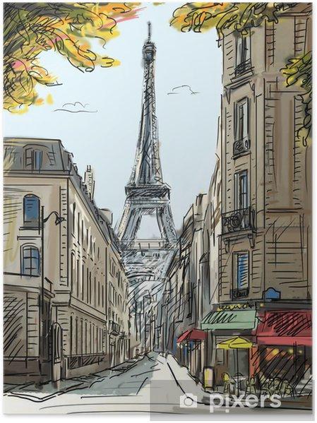 Plakat Ulica w Paryżu - ilustracja - Tematy