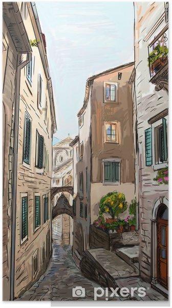 Plakat Ulica w roma - ilustracja - Tematy