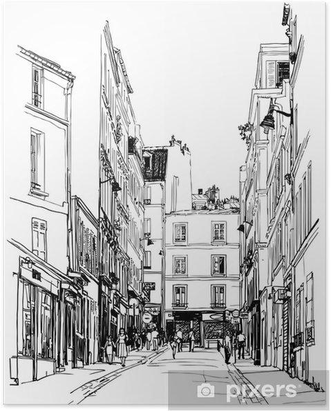 Plakat Ulicy w pobliżu Montmartre w Paryżu - Style