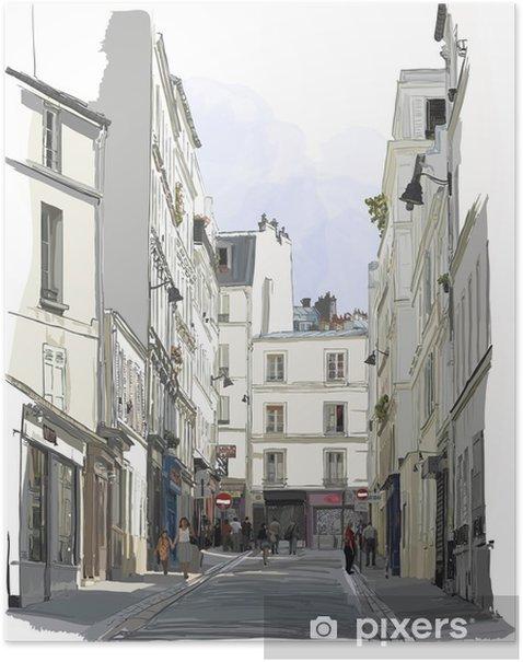 Plakat Ulicy w pobliżu Montmartre w Paryżu - Budynki i architektura