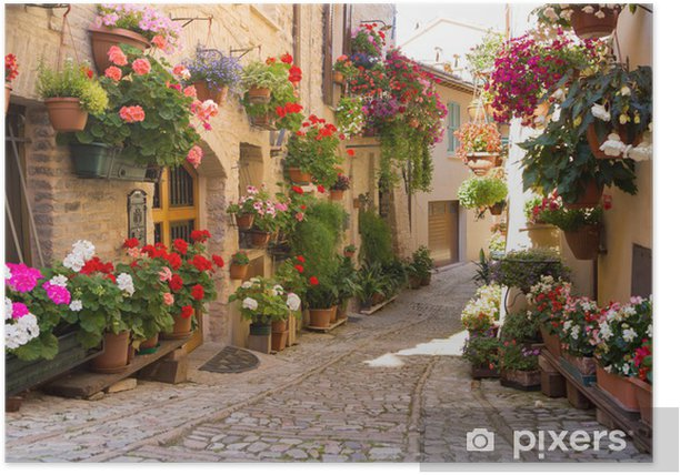 Plakat Uliczka z kwiatami, Spello -