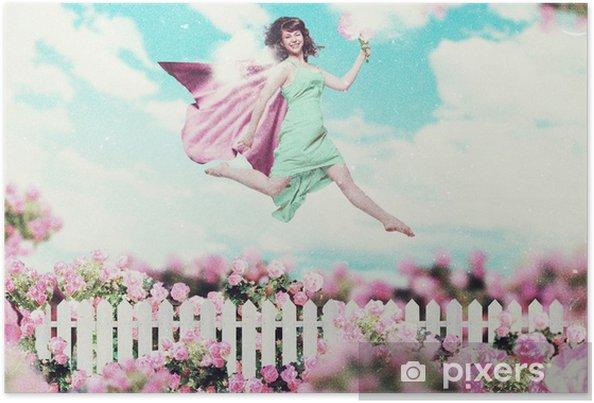 Plakát Umění, koláž s krásnými ženami v zahradě - Styly
