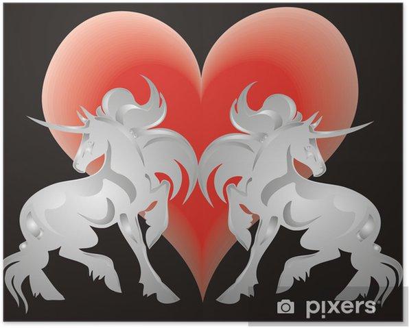 Plakat Unicorn i serce - Tematy