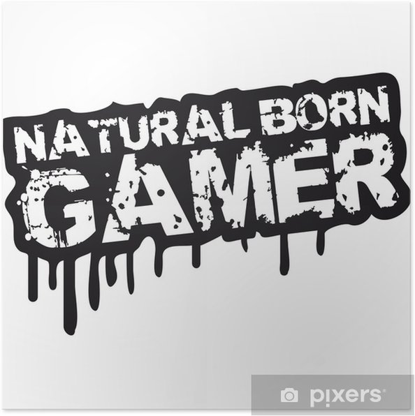 Plakat Urodzonym gamer stempel Graffiti - Naklejki na ścianę