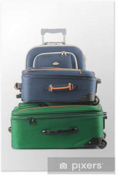 Plakát Úschovna se skládá z velkých kufrů izolovaných na bílém - Prázdniny