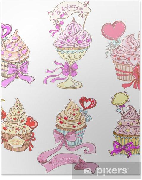 Plakat Ustaw Cupcakes - Świętowanie