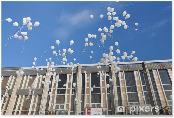 Plakat Uwolnienie balonów - Pejzaż miejski