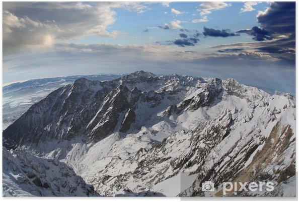 Plakát Úžasný výhled na hory pokryté sněhem, Vysoké Tatry, Slovensko - Evropa