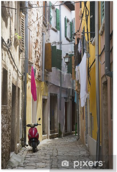 Plakát Úzká ulice Rovinj, Istria, Chorvatsko - Evropa