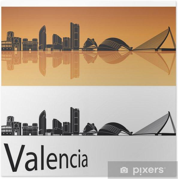 Plakát Valencia skyline - Evropa