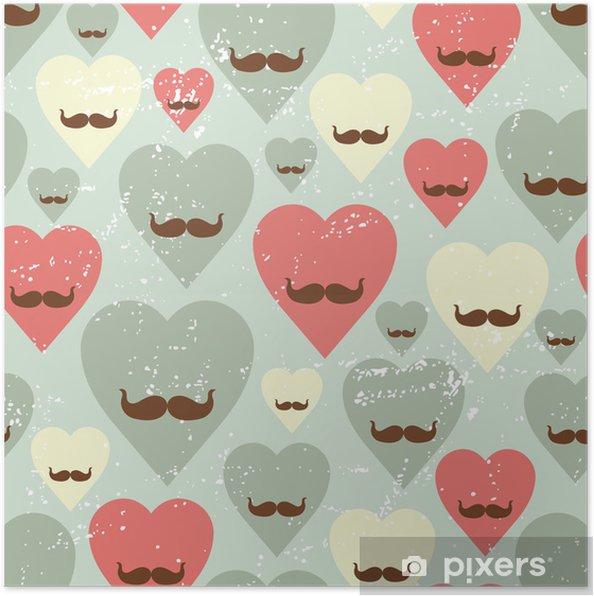Plakat Valentine szwu wzór z serca i wąsy. - Tła