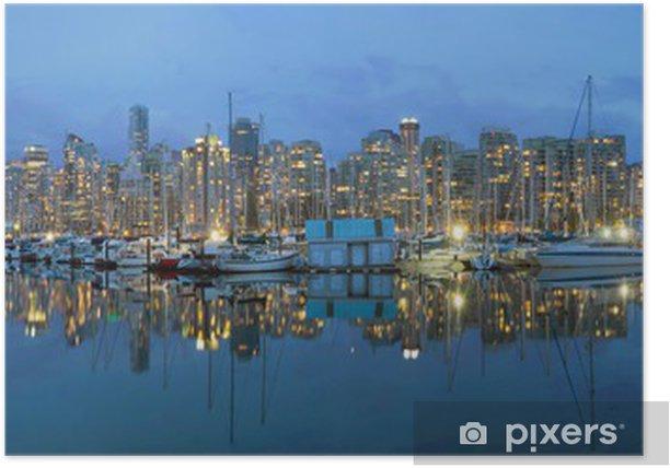 Plakat Vancouver BC Downtown Port Skyline w Blue Hour - Ameryka