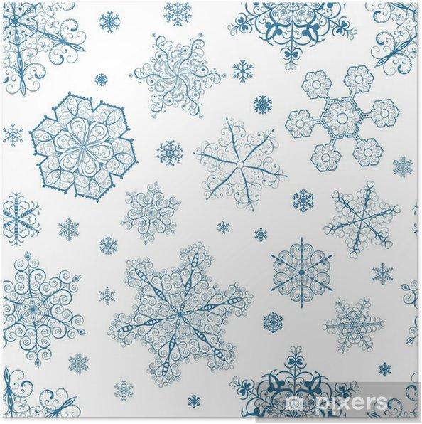 Plakát Vánoční bezešvé vzor tmavě modré sněhové vločky - Témata