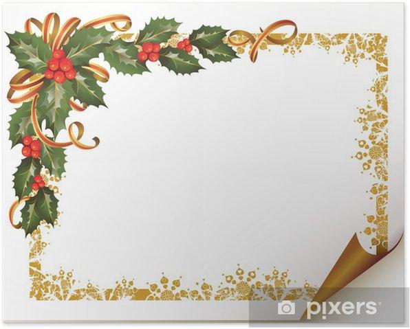 Plakát Vánoční holly pobočku v rohu papíru - Mezinárodní svátky