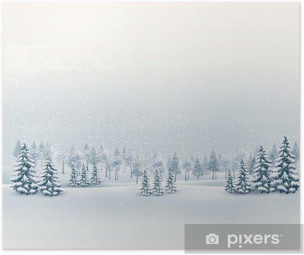 Plakát Vánoční zimní krajina na pozadí. Vector. - Mezinárodní svátky