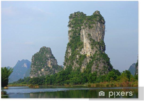 Plakát Vápencové kopce, Yangshou, Čína - Asie