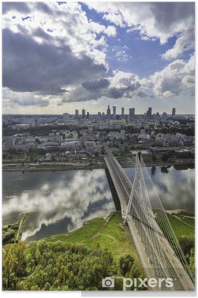 Plakát Varšava panorama za mostem, v Polsku - Témata
