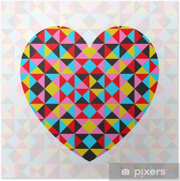 Plakát Vector abstraktní geometrické vzorované srdce - Mezinárodní svátky