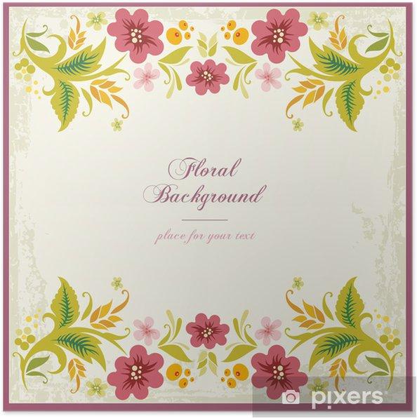 Plakat Vector Floral Ozdobne Tło w stylu vintage - Kwiaty