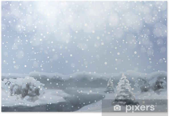 Plakát Vector Watercolor zasněžené krajině - Roční období