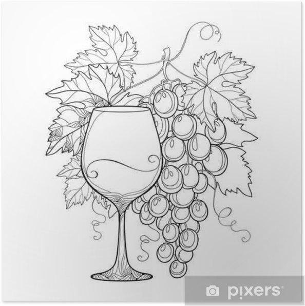 Plakat Vektor Banda Hroznu Zdobene Vinne Listy A Sklenice Na Vino V