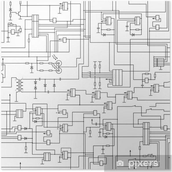 Plakat Vektorove Bezesve Elektricke Schema Zapojeni Vzor Pixers