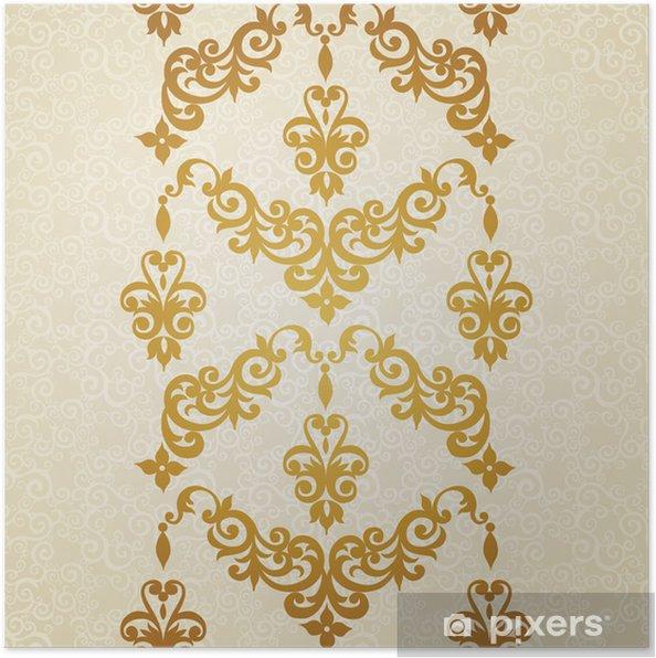 Plakát Vektorové bezešvé hranice ve viktoriánském stylu. - Pozadí