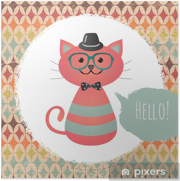 Plakát Vektorové Hipster Cat přání design ilustrace - Styly
