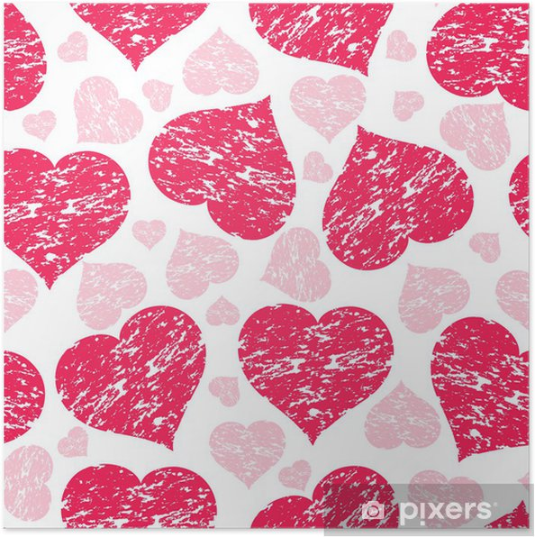 Plakát Vektorové ilustrace bezešvé vzor s grunge srdce - Mezinárodní svátky