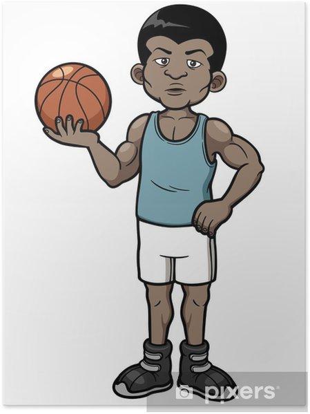Plakat Vektorove Ilustrace Kreslene Basketbalovy Hrac Pixers