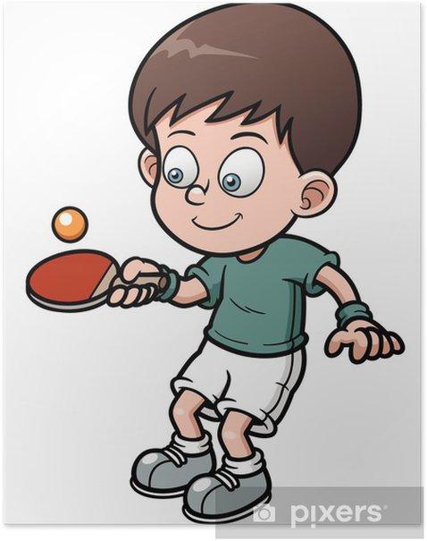 Plakát Vektorové ilustrace kreslené stolní tenista - Individuální sporty