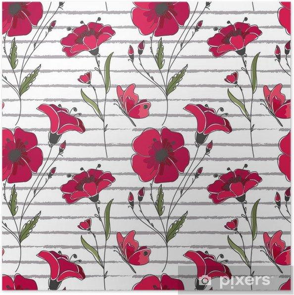 Plakát Vektorové květinové bezešvé vzor. barevné květinové vzorek s červenými vlčí máky na pruhované pozadí. - Rostliny a květiny
