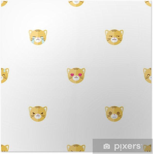 Plakat Vektorove Ploche Kreslene Tygri Hlavy S Ruznymi Emocemi