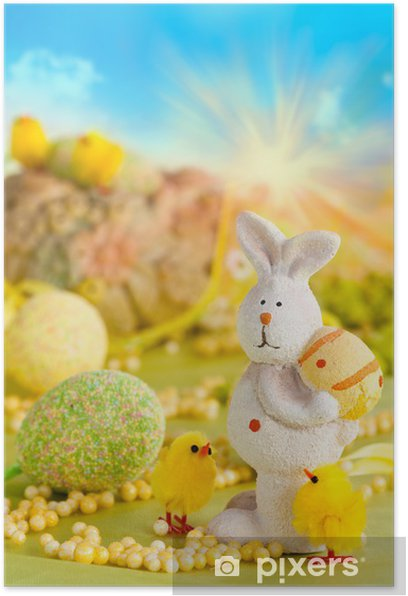 Plakát Velikonoční vajíčka a zajíček - Mezinárodní svátky