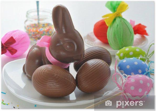 Plakát Velikonoční zajíček a čokoládová vajíčka - Mezinárodní svátky