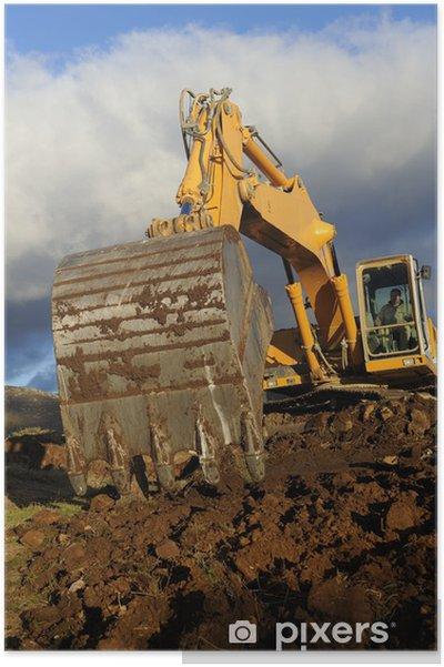 Plakát Velký bagr pracuje na hoře - Stroje