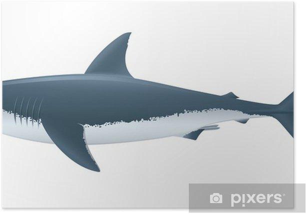 """Plakát Velký bílý žralok. """"Full kompatibilní. Vytvořeno s přechody."""" - Nálepka na stěny"""