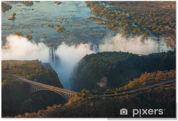 Plakát Viktoriiny vodopády ze vzduchu - Afrika