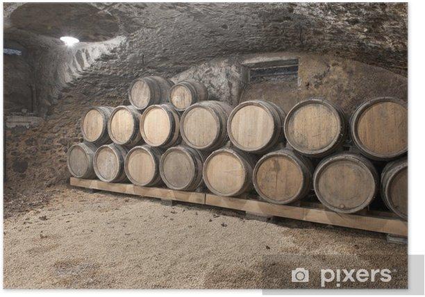Plakát Vinný sklep s sudů v řadě - Zemědělství