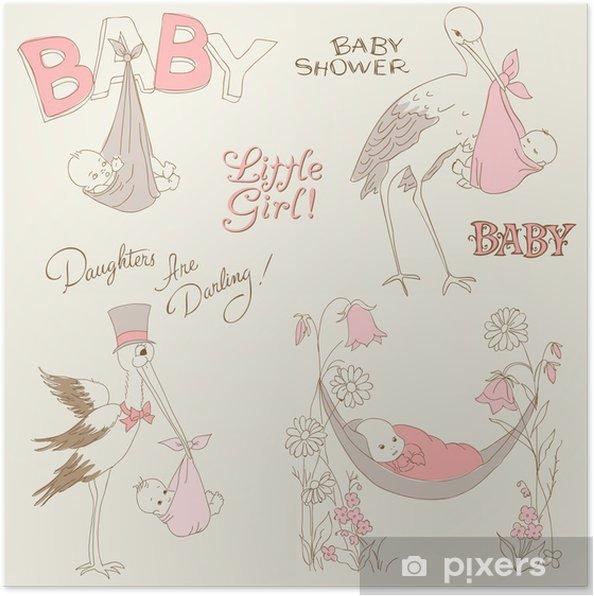 Plakat Vintage Baby Girl Prysznic I Przybycia Doodles Ustaw Design
