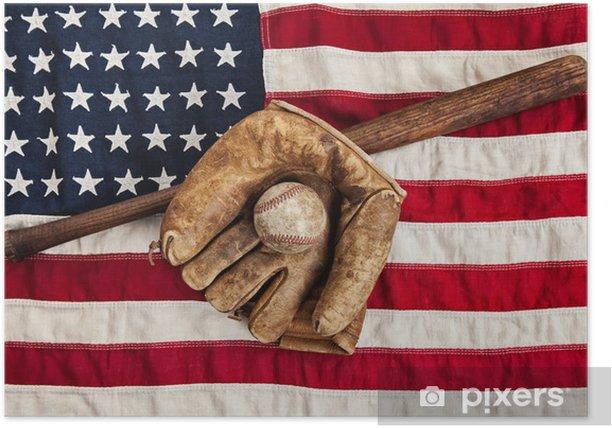 Plakat Vintage baseball, bat i rękawice na amerykańskiej flagi - Artykuły sportowe