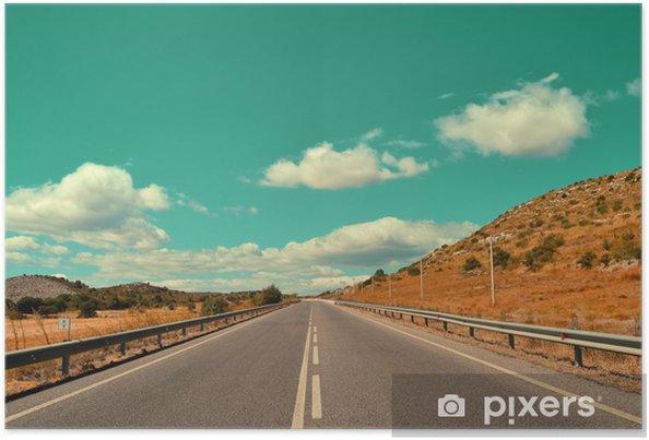 Plakat Vintage drogowy z chmur - Krajobraz wiejski