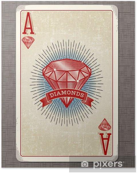 Plakát Vintage hrací karta vektorové ilustrace eso diamantů - Koníčky a volný čas