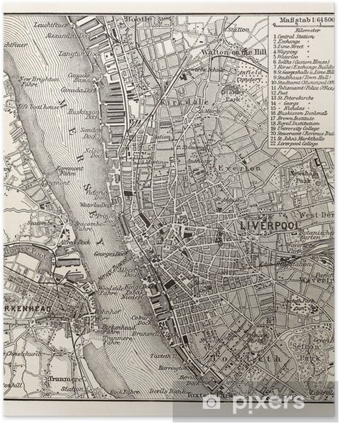 826b580bc Plakat Vintage mapa Liverpool • Pixers® • Żyjemy by zmieniać