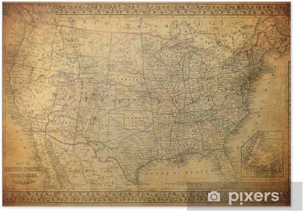 Plakát Vintage mapa Spojených států 1867 - Styly