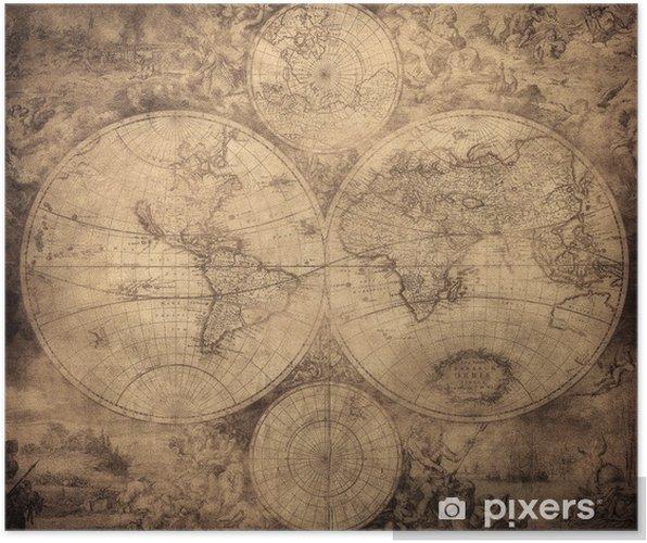 Plakat Vintage, mapa świata ok. 1675-1710 - Tematy
