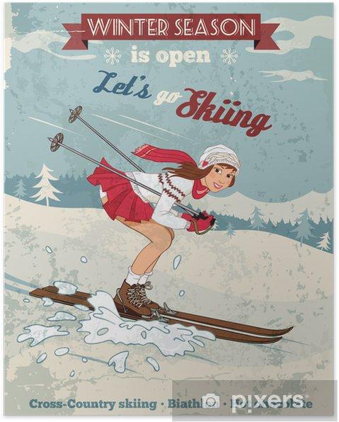 Plakat Vintage, pin-up girl narty plakat - Sporty indywidualne