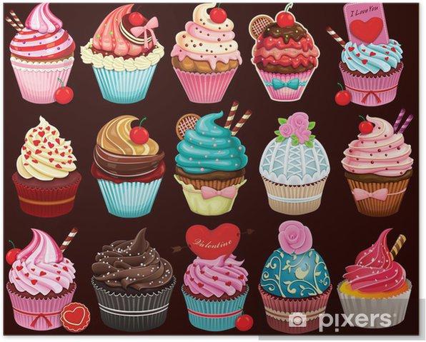 Plakat Vintage plakat projekt Cupcake zestaw - Posiłki