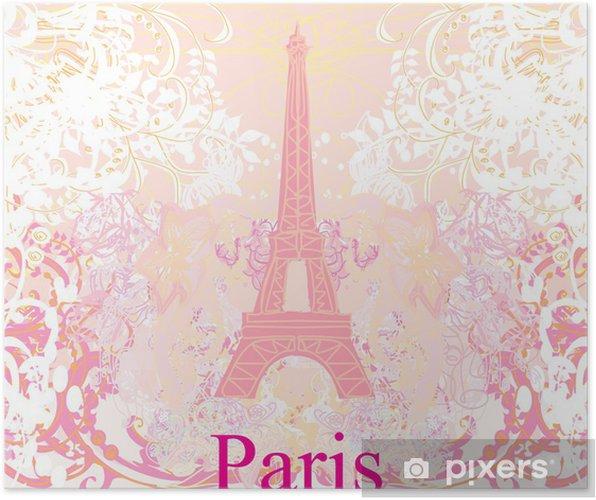 Plakat Vintage retro Eiffel card - Miasta europejskie