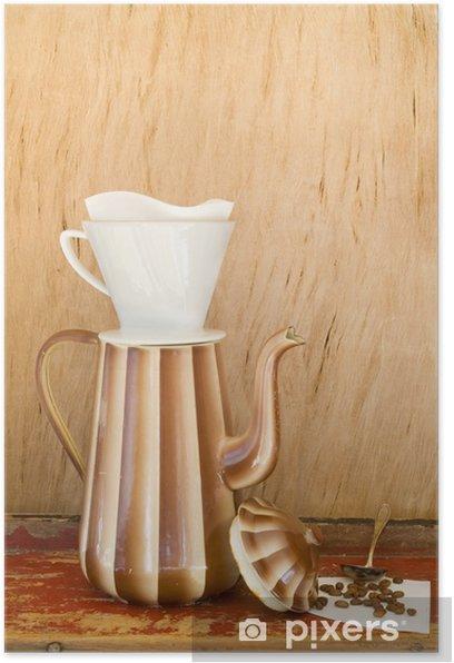 Plakát Vintage smalt konvice na kávu, káva filtr AMD kávová zrna - Horké nápoje